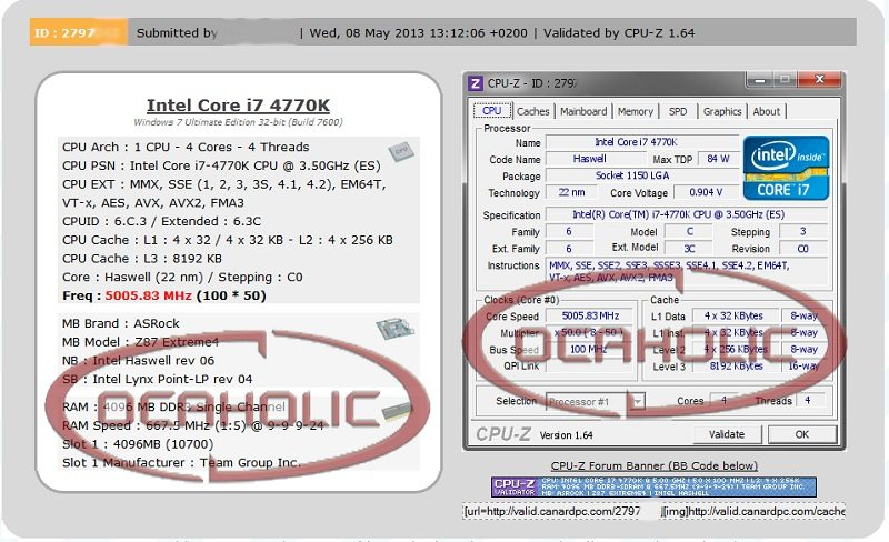 Intel i7 4770K Overclocked to 5GHz On Just 0.9 Volts
