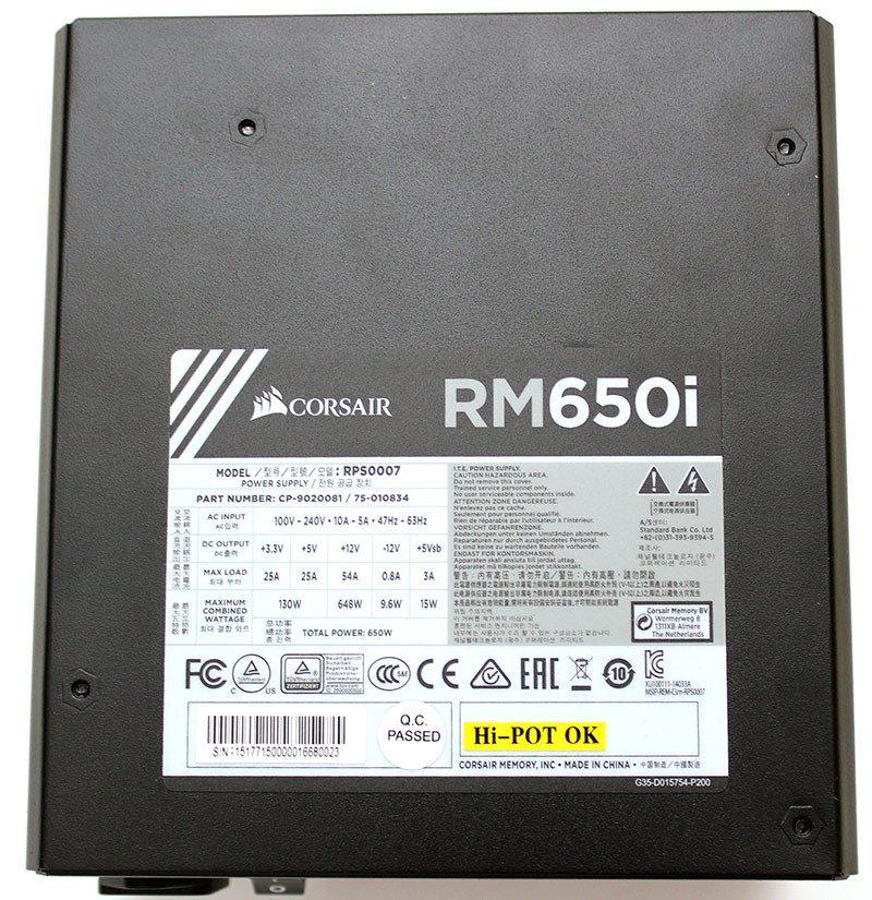 Corsair Rmi Series Rm650i Fully Modular Power Supply