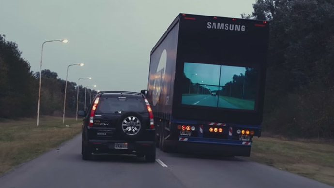 Samsung 'Safety Truck' Shows the Road Ahead On a Rear ...