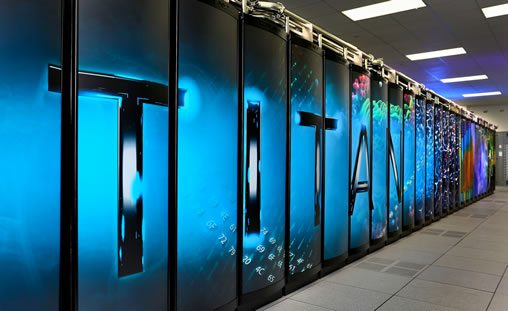 titan supercomputer has 20 petaflops a quadrillion calculations per second equal to each of the worlds 7 billion people being able to carry out 3 million calculations per second