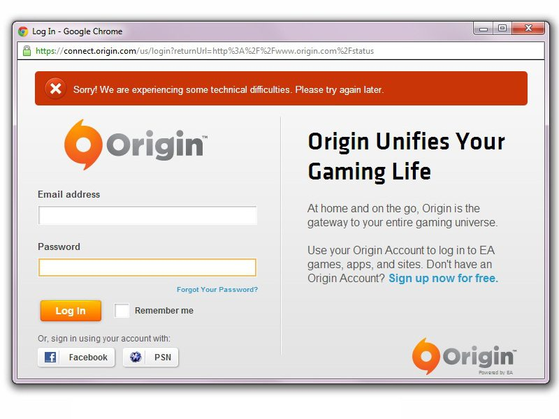 Origin server down