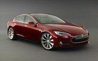 Tesla Model S burgondy