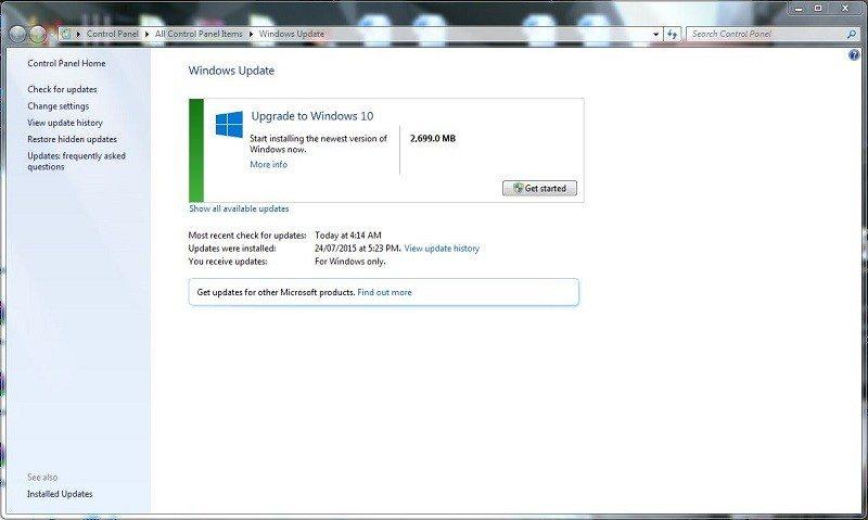 Microsoft Windows 10 Upgrade Windows Update Free
