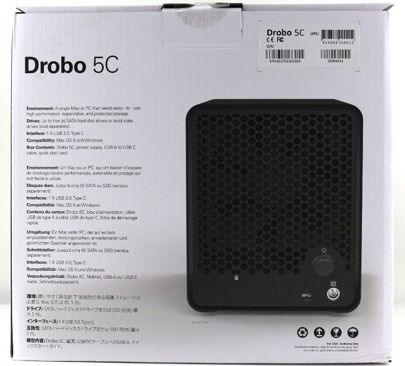 Drobo 5C Photo box rear