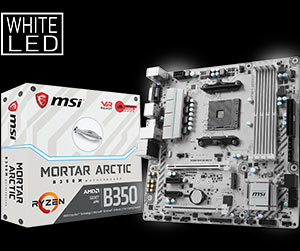 msi motherboard am4 b350m mortar arctic
