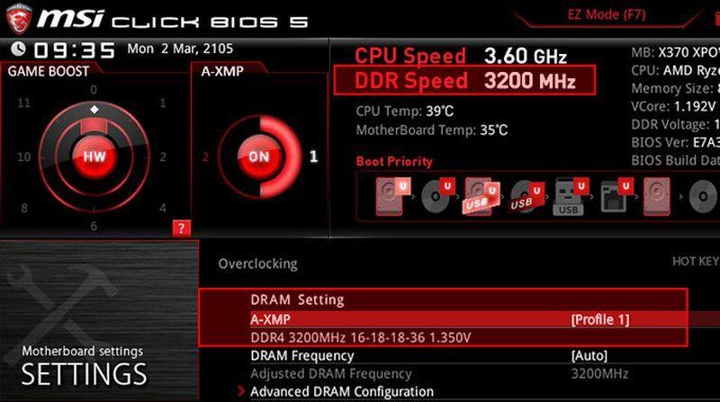 msi motherboard am4 click bios 5 a xmp
