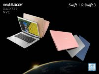 Acer Introduces Swift 3 and Swift 1 Ultraslim Stylish Notebooks