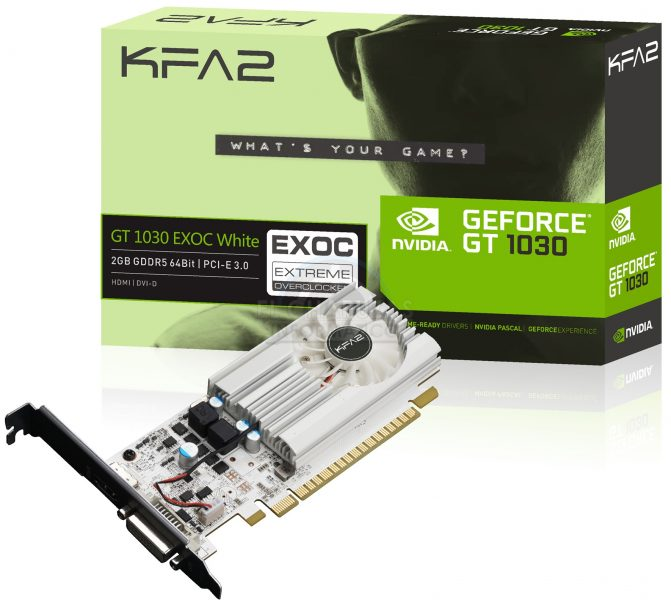KFA2 GeForce GT 1030 EXOC White Video Card Pictured and Specs Revealed