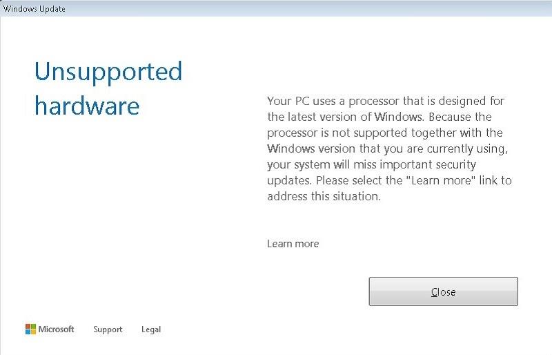 Microsoft Windows Update Unspoorted Hardware Ryzen Kaby Lake