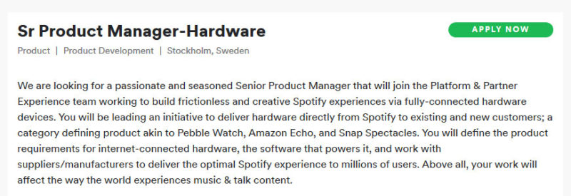 Spotify Music Streaming Service Looking to Create Their Own Hardware