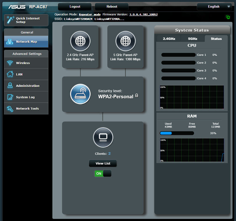 ASUS RP-AC87 SS extender mode 2