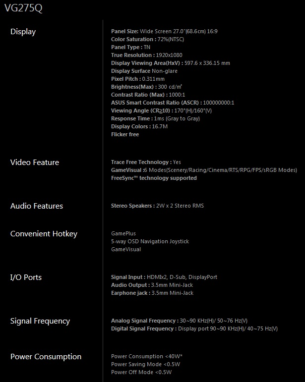 ASUS VG275Q 27 Specifications