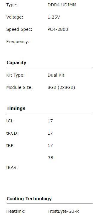 Muskin Redline Frostbyte Dual Channel DDR4 spec