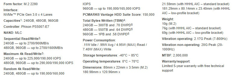 Kingston KC1000 480GB SS specs