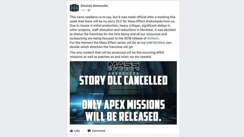 Mass Effect: Andromeda Story DLC Cancelled?