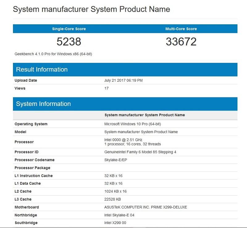 Intel Core i9 7960X Geekbench 4.0 Benchmark
