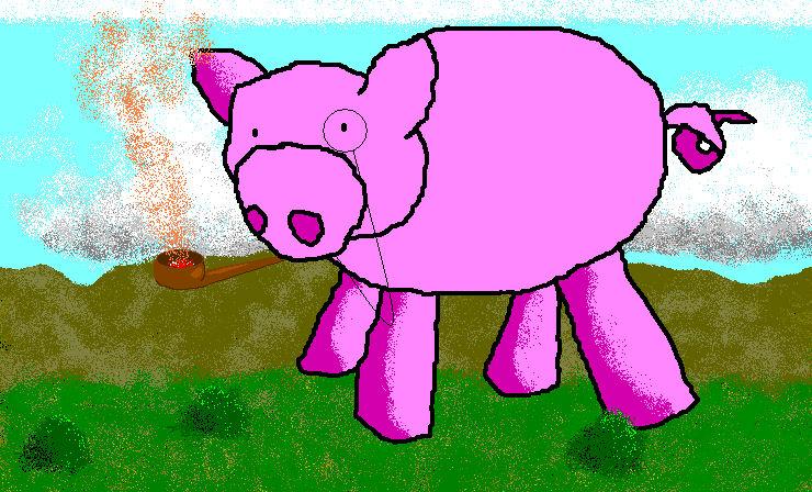 Smoking Giant Pig