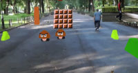Super Mario Bros. Level Recreated in NYC Central Park via Hololens AR
