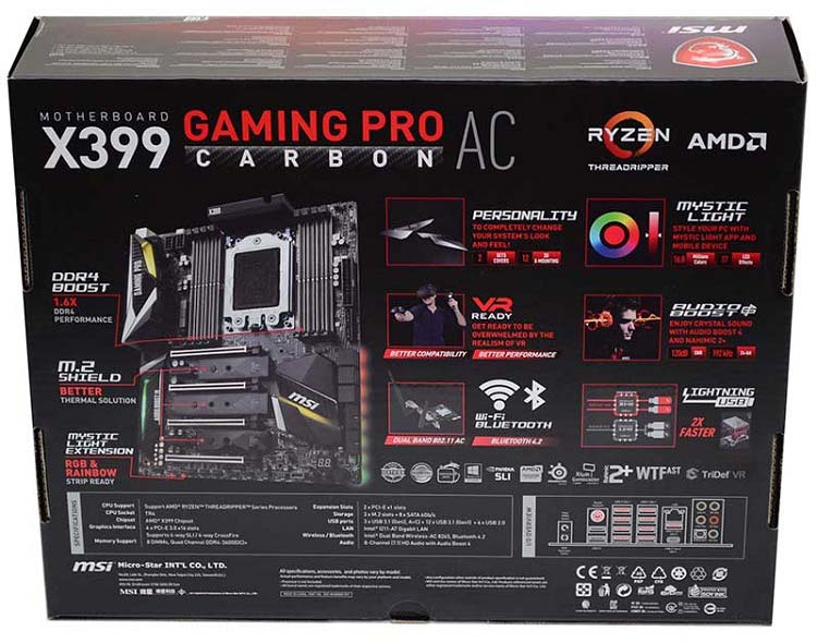 MSI X399 Gaming Pro Carbon AC Threadripper Motherboard