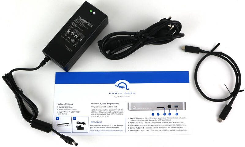 OWC USB-C Dock Photo box content