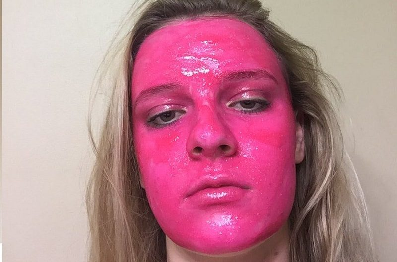 pink face poster paint