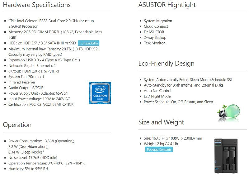 ASUSTOR AS6302T SS hardware specs