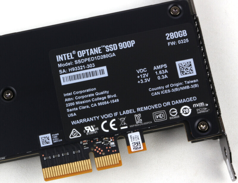 Intel 900p Optane 280GB Photo closeup lable