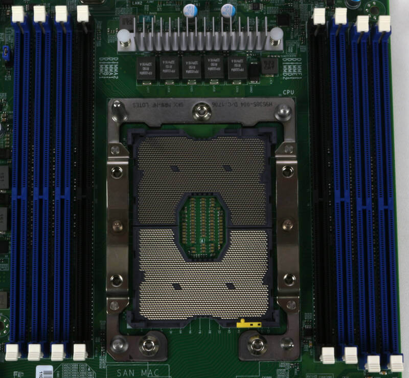 Supermicro X11SPi-TF Photo closeup cpu and ram slots