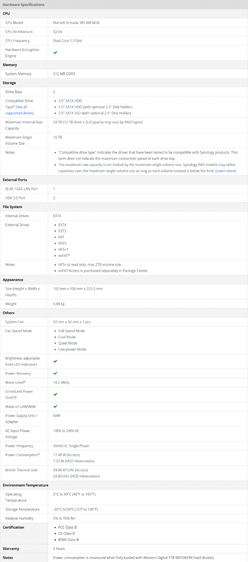 Synology DS218j SS specs hardware
