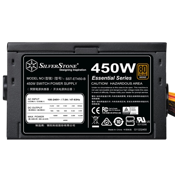 SilverStone Adds 450W Power Supply to Essential Series Line
