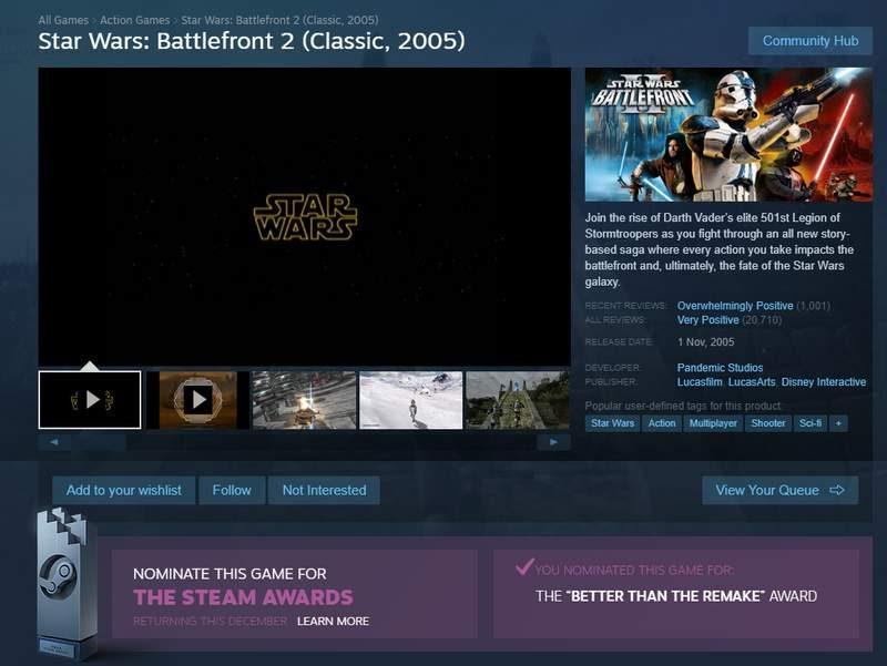 Star Wars Fans Trolling EA via Steam Awards with Write-in Nominee