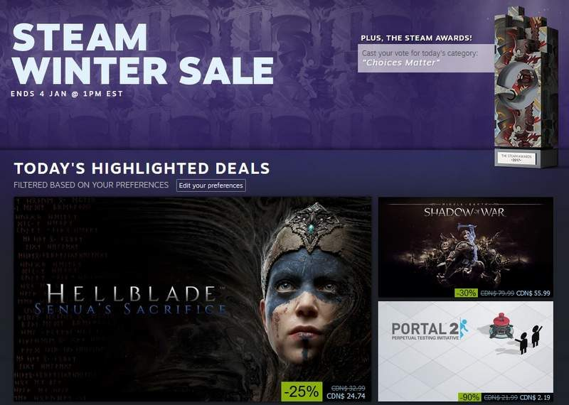 Steam Winter Sale Goes Live–Runs Until January 4, 7PM BT