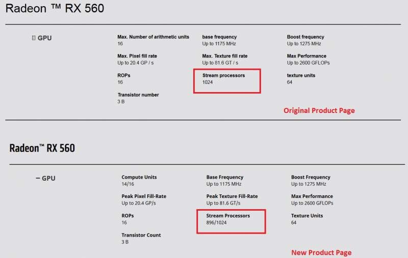 AMD Baits-and-Switches Radeon RX 560 Specifications