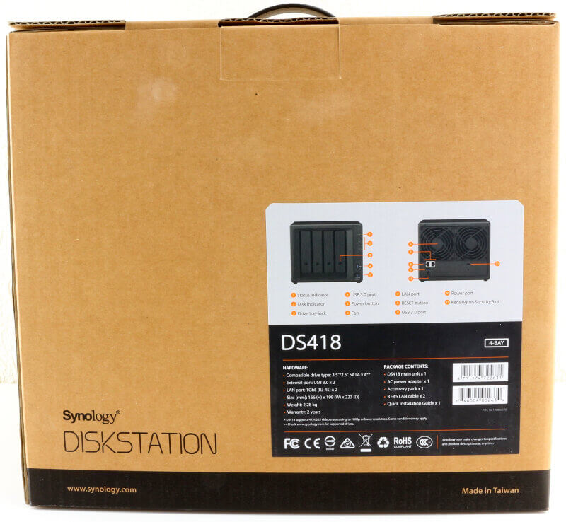 Synology DS418 Photo box rear