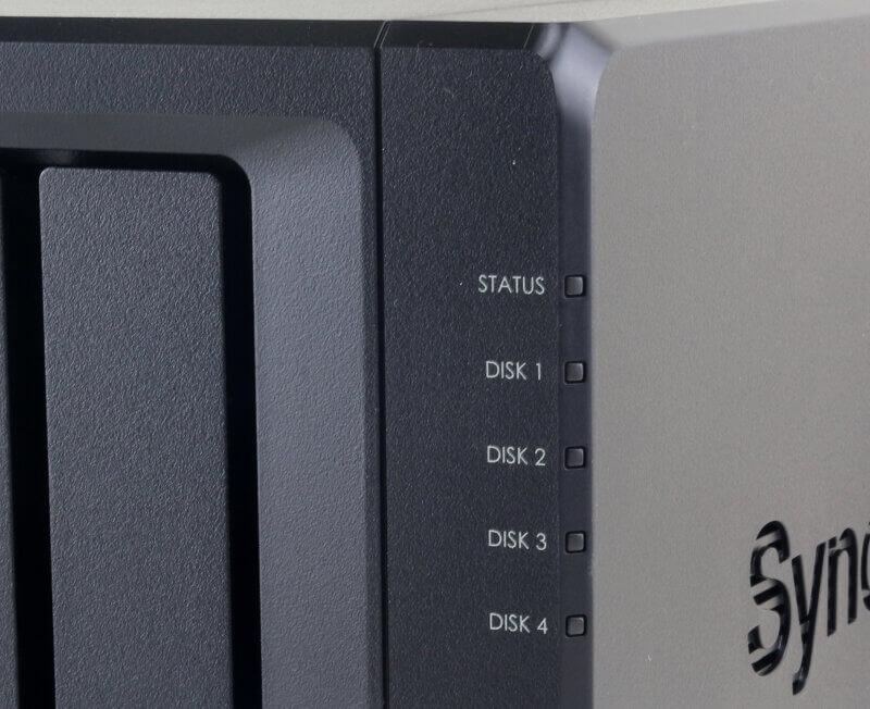 Synology DS418 Photo closeup LEDs
