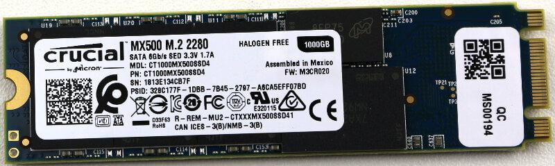 Crucial MX500 M2 1TB Photo view bottom