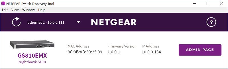 NETGEAR Nighthawk SX10 SS00 Netgear Switch Discovery Tool
