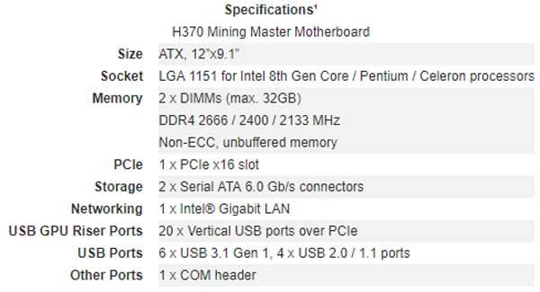 specificationsh370mining