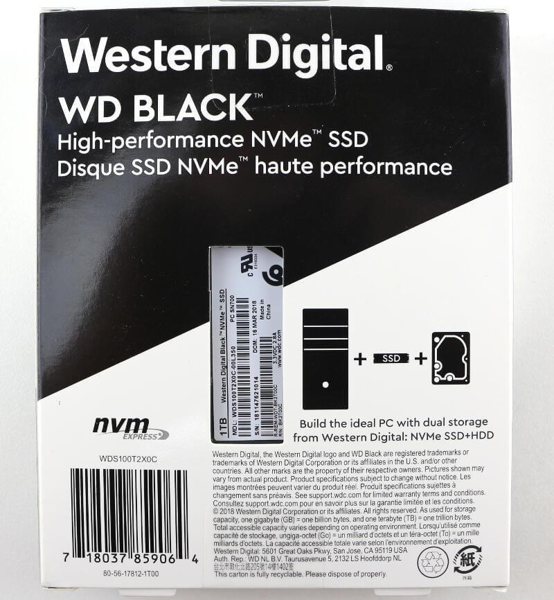 WD Black PCIe M2 1TB Photo box rear