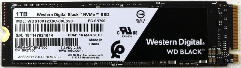 WD Black PCIe M2 1TB Photo view top