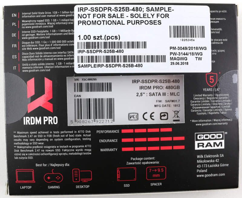 GOODRAM IRDM PRO 480GB Photo box rear
