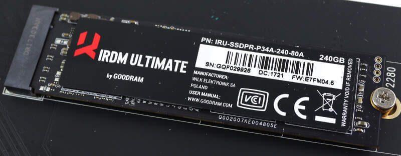 GOODRAM IRDM Ultimate 240GB Photo closeup drive in slot
