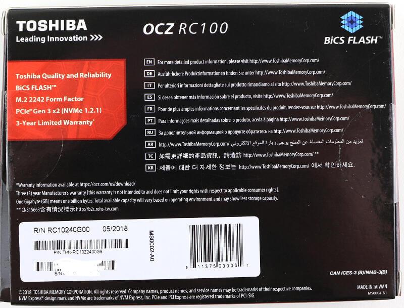 Toshiba OCZ RC100 240GB Photo box rear