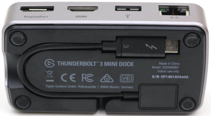Elgato Thunderbolt 3 Mini Dock Photo view bottom with cable inside