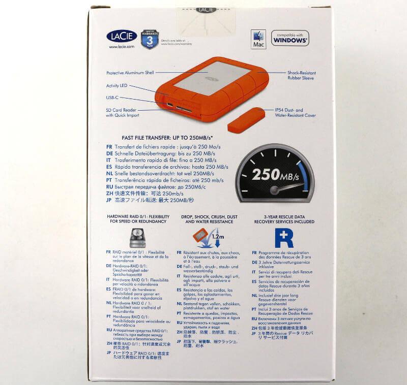 LaCie Rugged RAID Pro 4TB Photo box rear