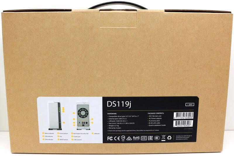 Synology DS119j Photo box rear