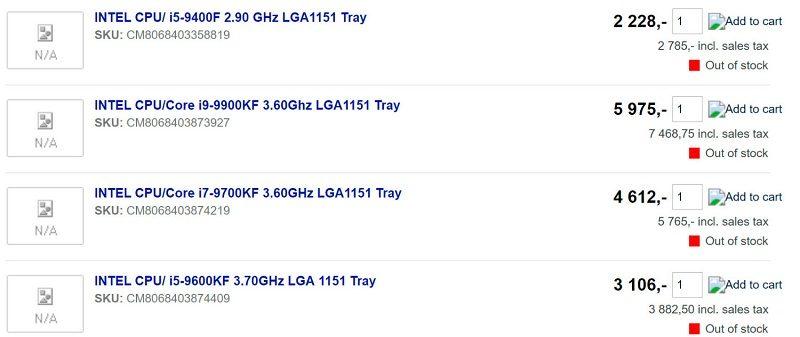 Intel KF iGPU Processors Leaked Prices