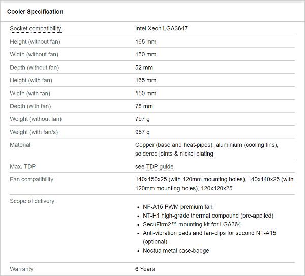 Noctua NH-U14S DX-3647 SS specs cooler