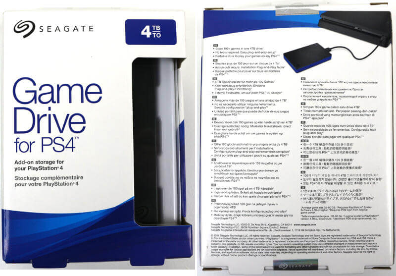 Seagate Game Drive for PS4 4TB Photo box 1 front and back