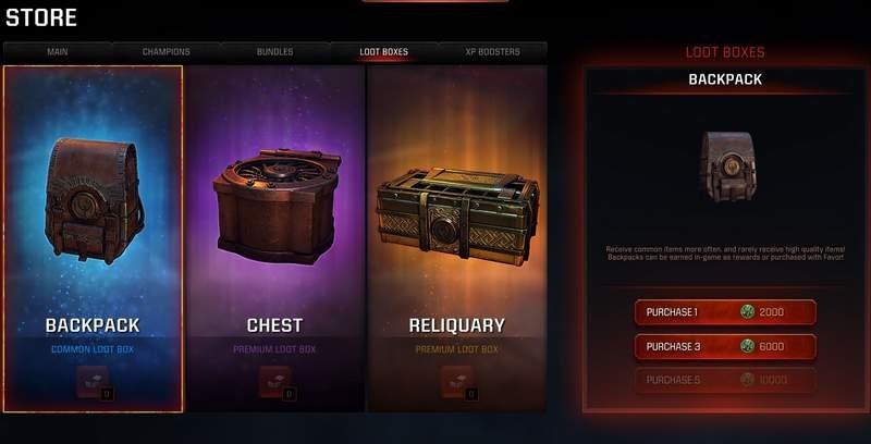 Quake Champions loot box pricing